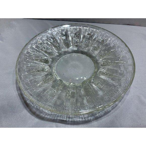 1970s Basketweave Glass Ashtray Trinket Dish